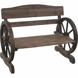 Rustic Kiln Dried Fir Wooden Wagon Wheel Bench, 42.5inWx24.5