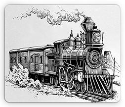 Ambesonne Steam Engine Mouse Pad, Rustic Old Train in Countr