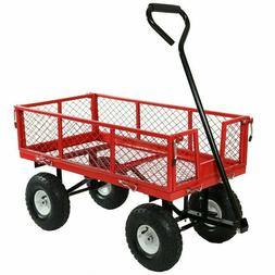 Sunnydaze Utility Steel Garden Cart, Outdoor Lawn Wagon with