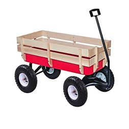 ALEKO TC4201 Kids Wood and Steel Wagon All Terrain Pulling P