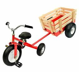 All Terrain Red Tricycle with Wagon Trike Set Pull Along Toy