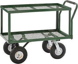 Sandusky TW3820 Green Heavy Duty Steel 2-Deck Flat Wagon, 55