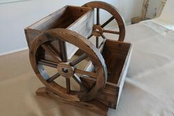 TWO TIER WOODEN WAGON WHEEL STYLE GARDEN PLANTER BOXES REAL