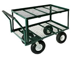 Utility Cart Green Heavy Duty Steel Deck Flat Wagon Durable