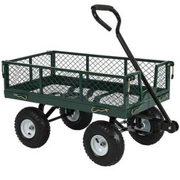 Best Choice Products Utility Cart Wagon Lawn Whellbarrow Ste