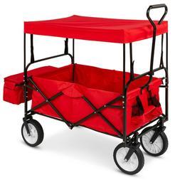 Utility Wagon Garden Cart w/ Folding Design, 2 Cup Holders,