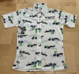 Vintage Boys Shirt Western Disco Button Short Sleeve Horse W