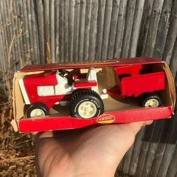 VINTAGE TONKA LAWN TRACTOR w/ ATTACHED TRAILER/WAGON RED AND