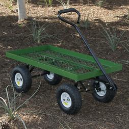 Wagon Garden Cart Nursery Steel Mesh Deck Trailer Plant Cart