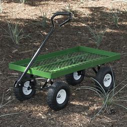Wagon Garden Cart Nursery Steel Mesh Deck Trailer Heavy Duty