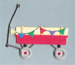 Wagon - Toy - Parade - Flags - Embroidered Iron On Applique