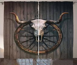 Wagon Wheel Curtains Bull Skull Rustic Window Drapes 2 Panel