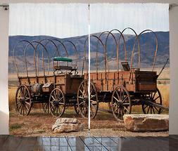 Wagon Wheel Curtains Vintage Western Window Drapes 2 Panel S