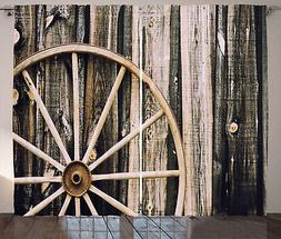Wagon Wheel Curtains Wooden Barn Door Window Drapes 2 Panel