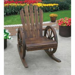Wagon Wheel Rocking Chair Fir Wood Flame Burnt Finish Porch