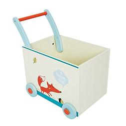 Labebe Baby Walker with Wheel, White Fox Printed Wooden Push