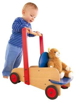 HABA Walker Wagon - First Wooden Push Toy with Seat & Storag