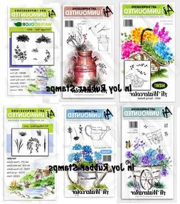 Art Impressions Watercolor Stamp Set Flowers Foliage Bridge,