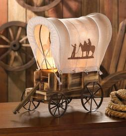 Western Wagon Lamp Table Covered Vintage Light Wood Cowboy D