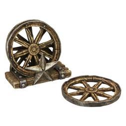 Western Wagon Wheel Coaster Set with Metal Star/Wagon Wheel