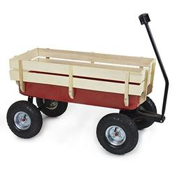 Best Choice Products Wood Wagon ALL-Terrain Pulling Red w/Wo