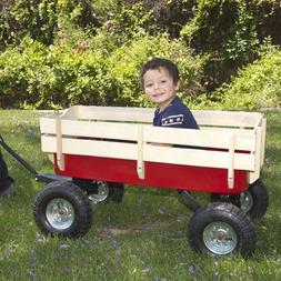 Wood Wagon ALL Terrain Pulling Red w/ Wood Railing Children