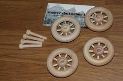 4 Pcs Wood Wheels w/Spokes Antique Toy Making Parts Wagons