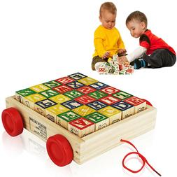 Wooden Alphabet Blocks, Best Wagon ABC Wooden Block Letters