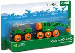 Brio Wooden Train Sets - Clever Crane Wagon 4 Pieces