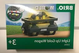 Brio World Wooden Railway Light Up Gold Wagon Train Car #338