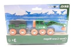Brio World Wooden Toy Clever Crane Wagon Railway Train green