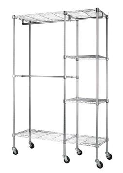 "Sandusky 48""W x 18""D x 74""H Mobile Wire Garment Rack, Chrome"
