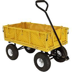 Sunnydaze Yellow Utility Cart with Folding Sides and Orange